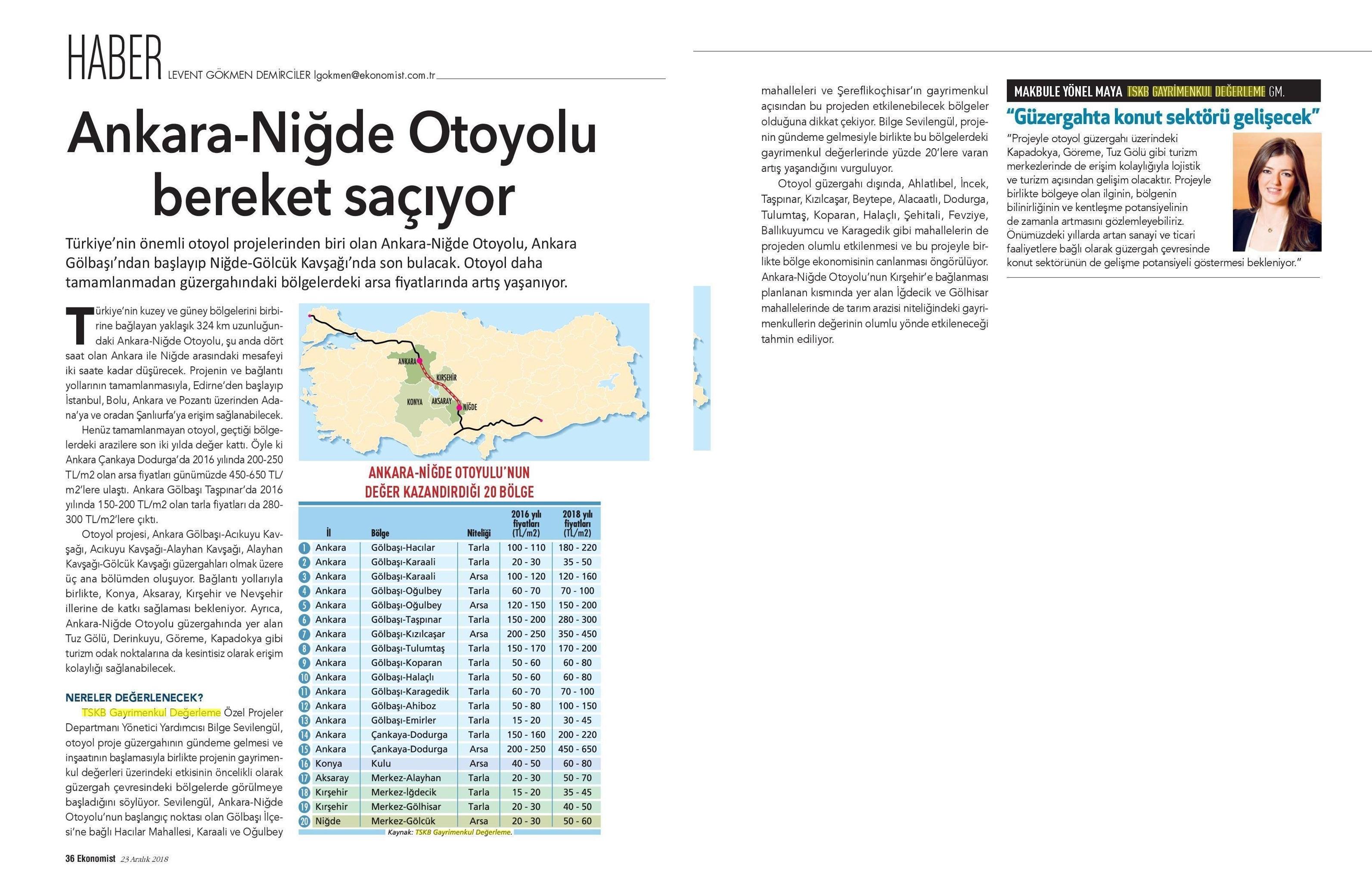 Ankara Niğde Otoyolu Bereket Saçıyor